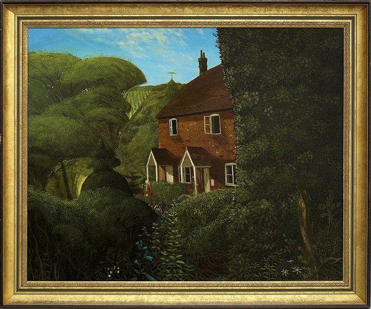 Scene in Kent (1970) by John Shelley, oil on board 61x76cm