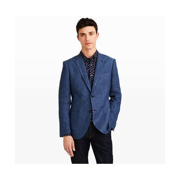 Club Monaco Grant Casual Linen Blazer in Color Blue ($398) ❤ liked on Polyvore featuring men's fashion, men's clothing, men's sportcoats, blue, mens short sleeve blazer, mens clothing, linen mens clothing, mens slim blazer and mens slim fit blazers