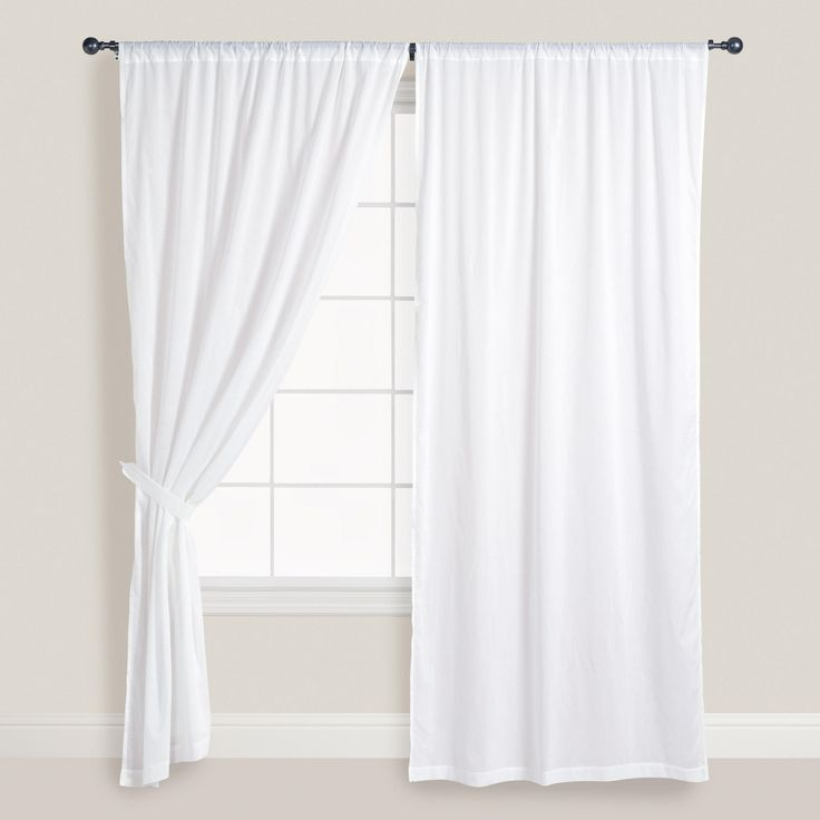 White Cotton Voile Curtains Set Of 2 Window