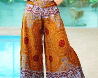 Palacio floral pantalones estilo piernas anchas rayón por MaeYing