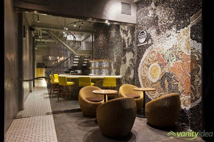 Stunning Mosaic Wall in Ramen Restaurant, Vietnam