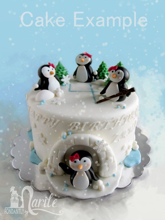 Penguins Igloo Cake Fondant Set by FondantlybyMarile on Etsy