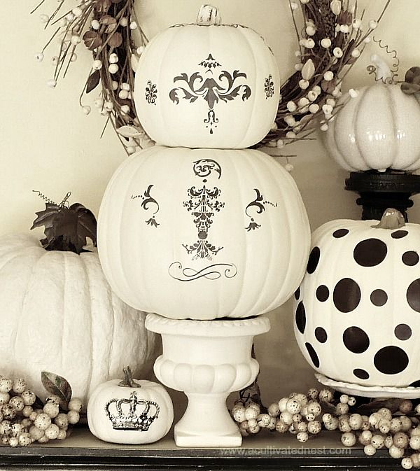 decorating white pumpkins