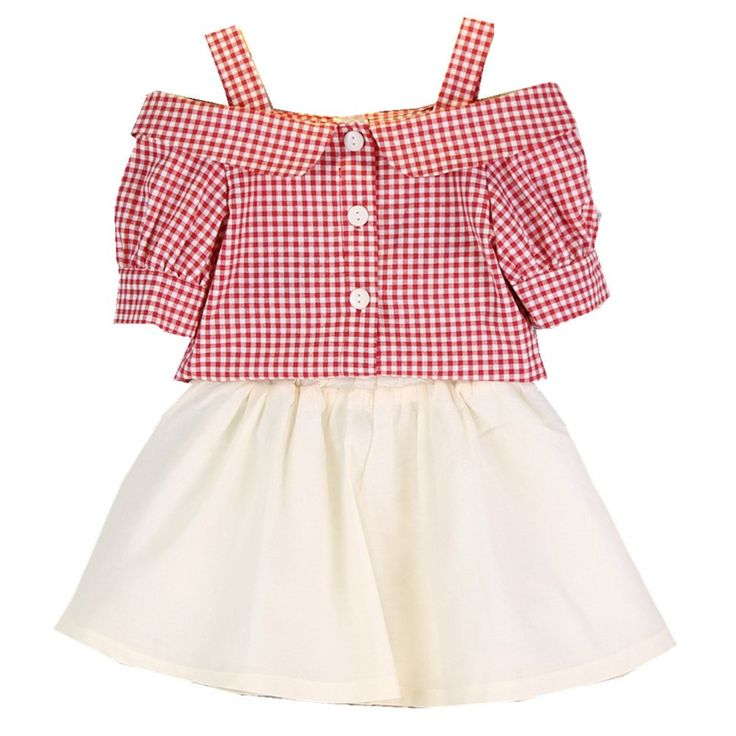 FTSUCQ Girls Checkered Shirt Tank Top with Skirt,Two-pieces Sets,100. Suitable for 90CM-130CM height girls with age 2-7 Years old. Includung a checkered short sleeve shirt sun-top and white skirt. Material: Cotton, cool and comfortable for girls. Suitable for dancing, sports, beach, seaside, holiday, indoor and outdoor, school, kindergarten, etc. 9-18 business days delivery to US by United States Postal Service, US trademark: FTSUCQ (Serial Number 86936743), Customer Notice: Fashion TSUCQ…