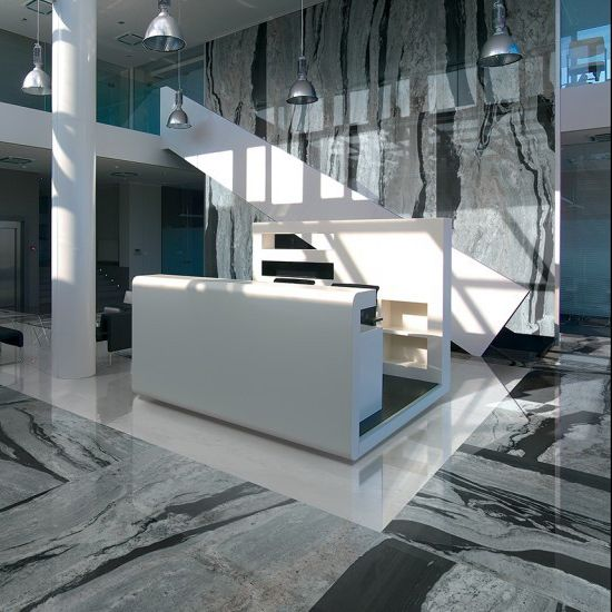 Okains Bay gloss tile ins storm, cloud, or mist. 600mm x 1200mm.