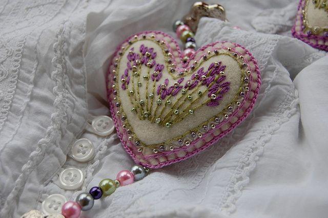 Felt heart and beads...