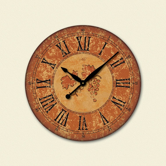 This will be a beautiful accent in my new kitchen. #cultivateit    SIENA  18in Large Wall Clock in Burnt Orange Tuscan by AbeloClocks, $89.00