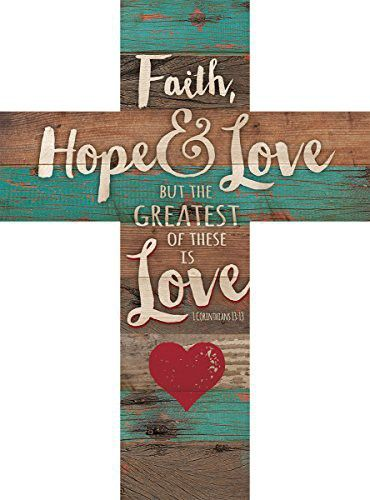 Faith hope love 1 corinthians 1313 red heart rustic 14 x 10 wood