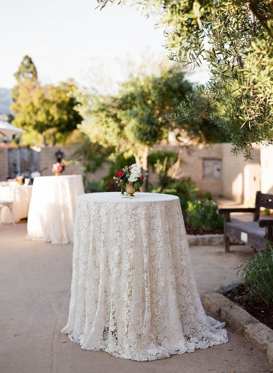 this is a lovely vintage lace doily tablecloth overlay in beautiful for farm table weddings