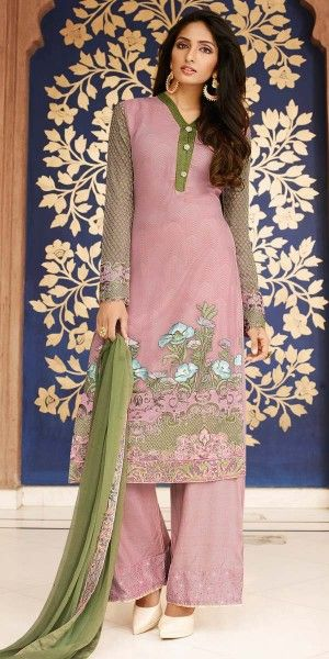 Eye-Catchy Pink And Green Georgette Straight Suit.