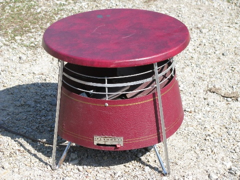 Retro Mid Century Metal Hassock Or Foot Stool Fan Grandma Ruby Used