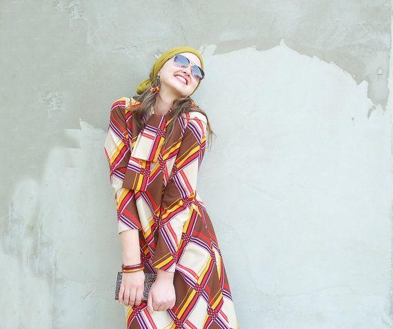 Vintage 1970's mini mod geometrical dress/vintage shift dress/hippie dress/mod dress/vintage mini dress/bow dress/geometrical print dress 7