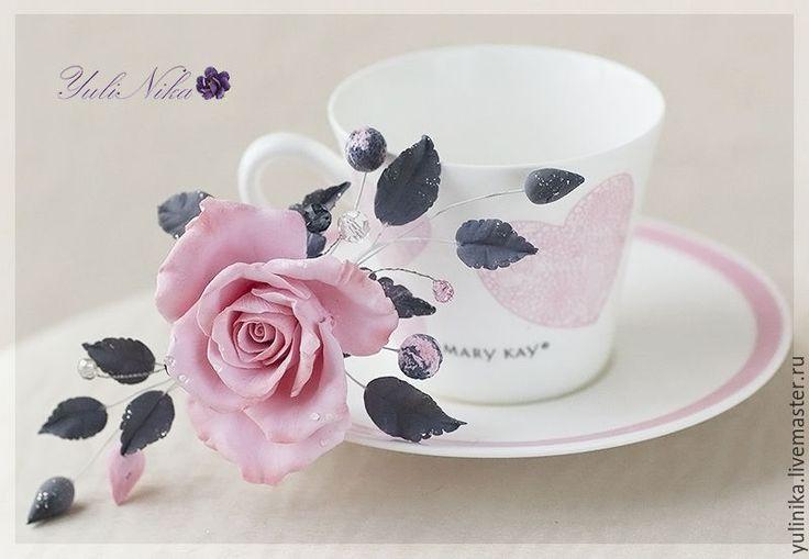 Купить Розочка для бала - кремовый, розовый, роза, роза ручной работы, цветы из полимерной глины