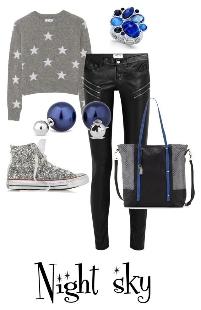 """Night sky"" by lilithowl on Polyvore featuring Converse, Zoe Karssen, Yves Saint Laurent, Urban Originals, Style & Co., Betty Jackson, Blue, Silver, pearls and glitter"
