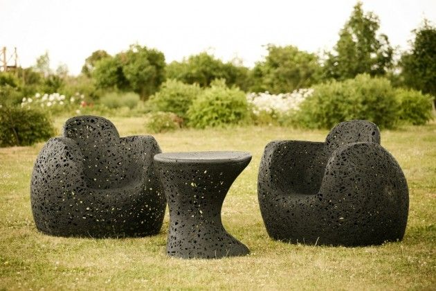 Latvian designer Raimonds Cirulis has created a collection of furniture made from basalt fibers for the manufacturer Maffam Freeform.