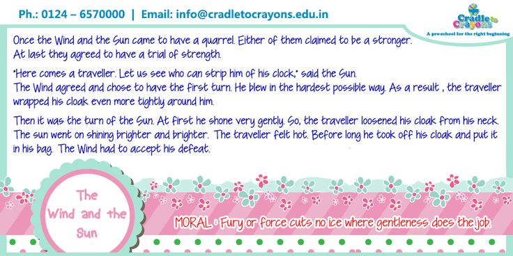 """The #Story """"The Wind and The Sun"""" explaining how force cuts no ice where gentleness does the job. #Kids  #Gurgaon #kids #children #child #parents #toddler #kindergarten http://cradletocrayons.edu.in/"""