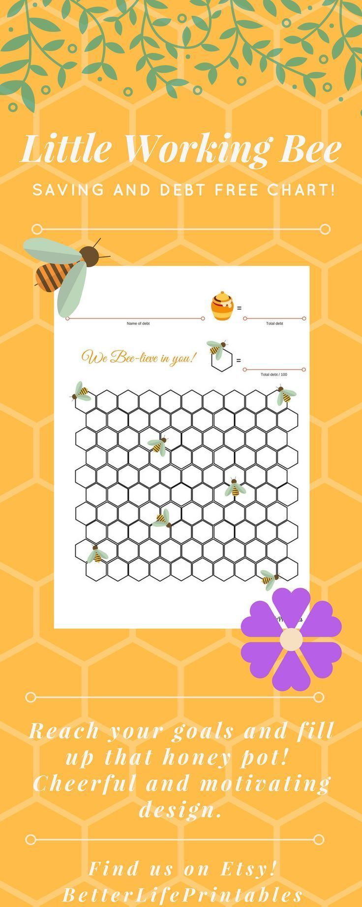Reach your goals with this cute working bee goal chart! Choose between debt-free text and saving goal text. Perfect to get that spring and summer feeling! Let yourself bee encouraged! #debtfreechart #etsyprintable #debtsnowball