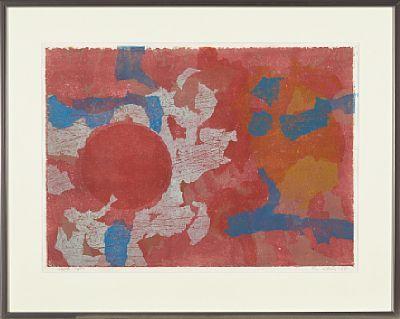 PER KLEIVA TROMS 1933  Uten tittel, 1964 Fargetresnitt på japanpapir, eget trykk. 42x59 cm Signert og datert nede til høyre: Per Kleiva 64