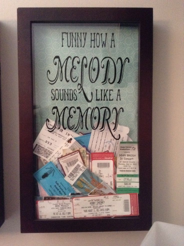 REALLY CUTE IDEA > I got the shadow box ticket holder/keeper idea on Pinterest. It was boring at first so I added fabric at the back to match my room colours. Then I got a Silhouette Cameo for Christmas. Ideas came and decided to use vinyl and cut out one of my favorite song lyrics (Springsteen by Eric Church).