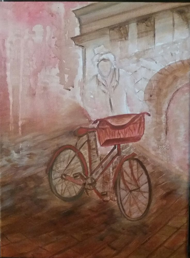 The bicycle -acrylic and oil on canvas by Litsa Raftopoulou
