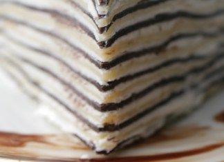 Palačinkový dort s příchutí vanilky a kakaa
