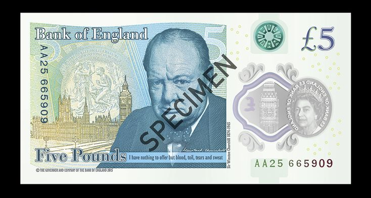 The Bank of England has just revealed their first ever polymer banknote in a ceremony at Blenheim Palace. The new £5 note features an image of Sir Winston Churchill, alongside the famous quotation from his first speech as Prime Minister: 'I have nothing to offer but blood, toil, tears and sweat.'
