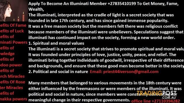 Do You want To Become A Illuminati Member To Be Rich, Famous +27835410199