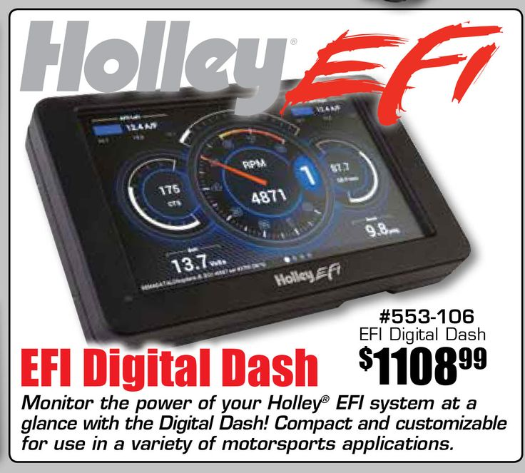 Explore our amazing range of Auto Accessories to add to the beauty and convenience of your vehicle at low prices. Choose from stylishly designed, high-quality accessories to ensure reliability and durability. Universal Holley EFI Digital Dash (553-106) by Holley. Designed with precision and functionality in mind, this accessory ensures outstanding performance and easy use which makes it the perfect deal for your ultimate satisfaction.  Features:  - Holley E E Fuel Injection Digital Dash…