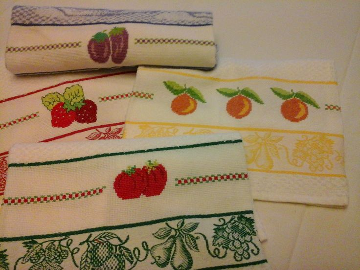 132 best frutta punto croce images on pinterest embroidery punto croce and dish towels - Strofinacci da cucina ...