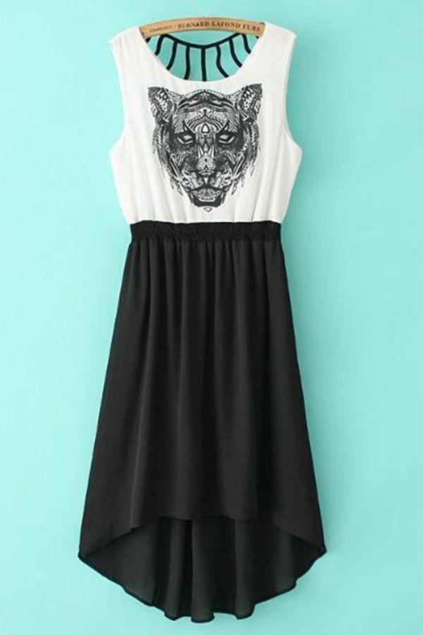 Black White Chiffon Round Neck Tiger Print Dress $36. Chiffon fabric, round neck, sleeveless styling, high low design, tiger head print in the front, cutout detail, elastic waist. #MayKool #HighLow