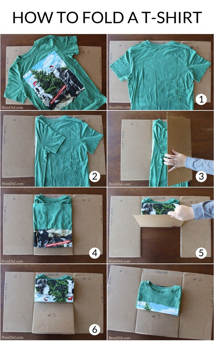 Best way to fold clothes for a trip - Make An Easy Diy T Shirt Folding Device From A Cardboard Box