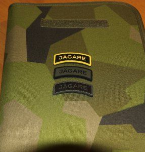 The three new Jägare tab patches in PVC