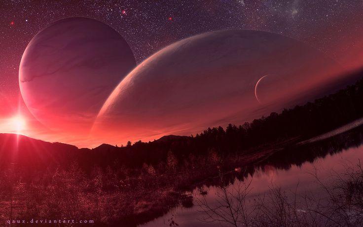 土星的夜景通过QAuZ在DeviantArt的
