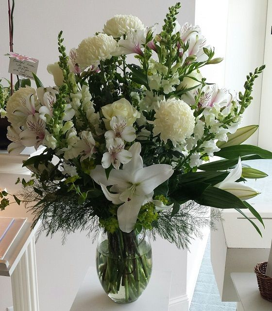 Beautiful All White Arrangement Of Oriental Lilies