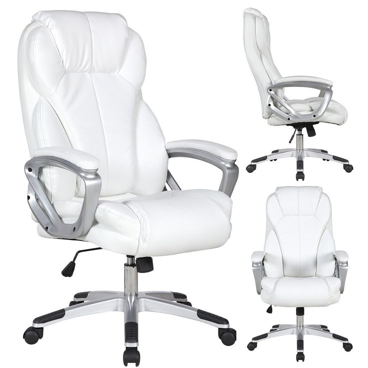 2xhome White Leather Deluxe Professional Ergonomic High Back Executive Office Chair, Silver