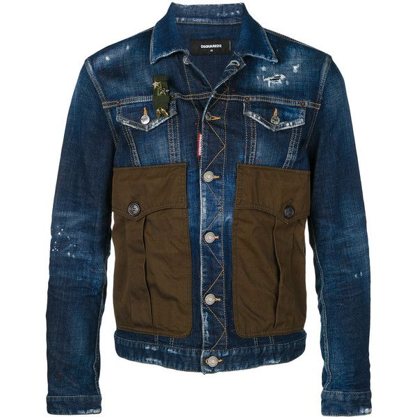 Dsquared2 denim jacket with oversized pockets (3.690 BRL) ❤ liked on Polyvore featuring men's fashion, men's clothing, men's outerwear, men's jackets, blue, mens oversized denim jacket, mens summer jackets, mens blue jean jacket, mens distressed denim jacket and mens blue jacket