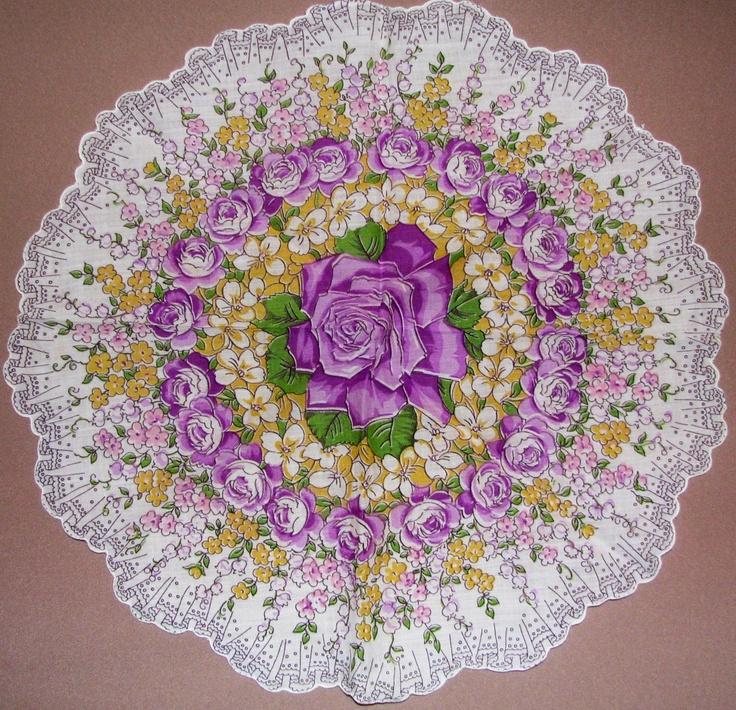 Purple Rose round vintage hanky,  antique handkerchief