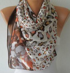 Leopard Print ScarfFall Scarf Chiffon Shawl Bridesmaid by fatwoman