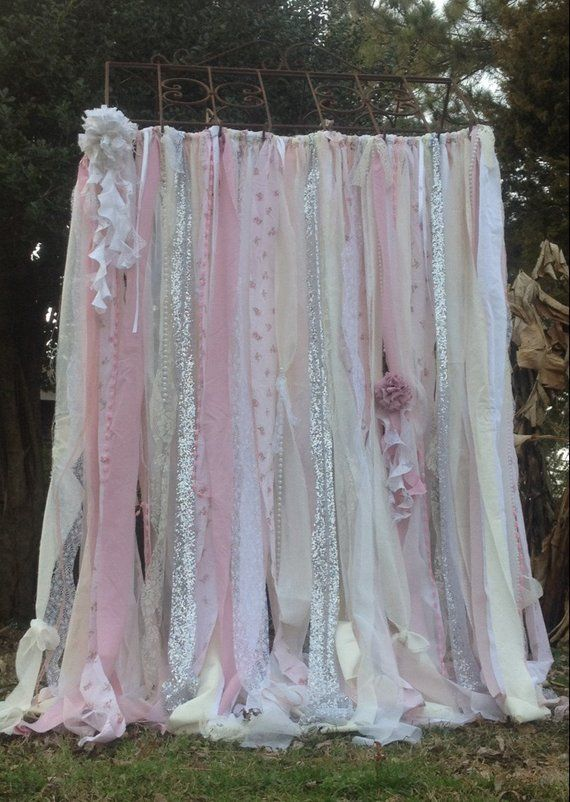 Shabby Chic Curtains Vintage Rachel Ashwell Fabric Ribbon and Sequin Backdrop Pink White Ivory Sparkle Silver Rag Garland Boho Lace Curtains – Jacqueline Medlin