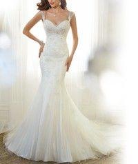 Wedding Dress,Lace Wedding Dress,Elegant Lace Mermaid Bridal Gowns Cap Sleeve Lace Dress