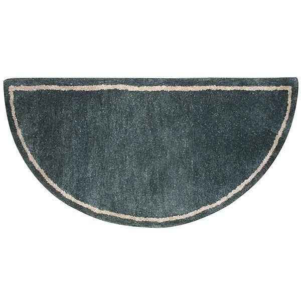 Green Hand-Tufted Wool Hearth Rug