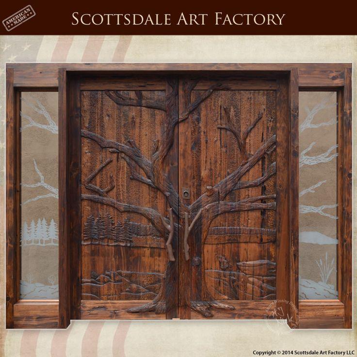 Hand Carved Wood Doors Tree Design Nature Double Door Entrance Solid Wood Entrance Doors