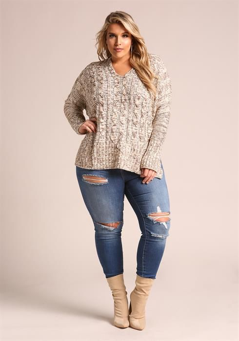 $49.95---3X---Plus Size Cable Knit Marled Sweater