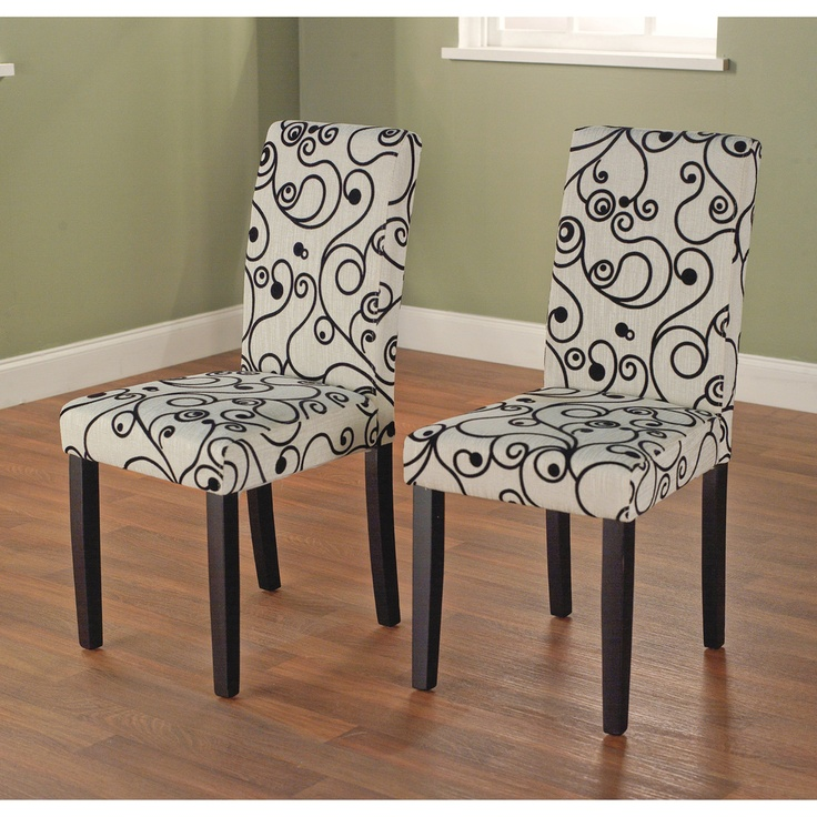 parson cream and black rubber wood dining chairs set of 2