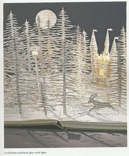 Holiday scene made from old books - Reimaging done right!