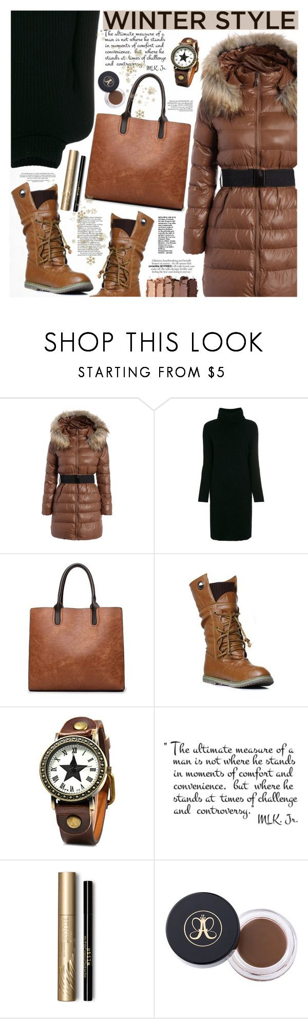 """""""Winter Style"""" by katjuncica ❤ liked on Polyvore featuring Lamberto Losani, Urban Decay, Stila, winterboots, brownbag, winterstyle, browncoat and beltedcoat"""
