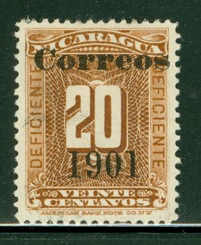 "Nicaragua 1900-1905: Scott #141 MNG 20c Org Brn ""Correos 1901"" OVPT"