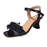 Mujer+Zapatos+PU+Verano+Confort+Sandalias+Tacón+Bajo+Punta+abierta+Pedrería+Para+Casual+Negro+Beige+–+MXN+$+727.61