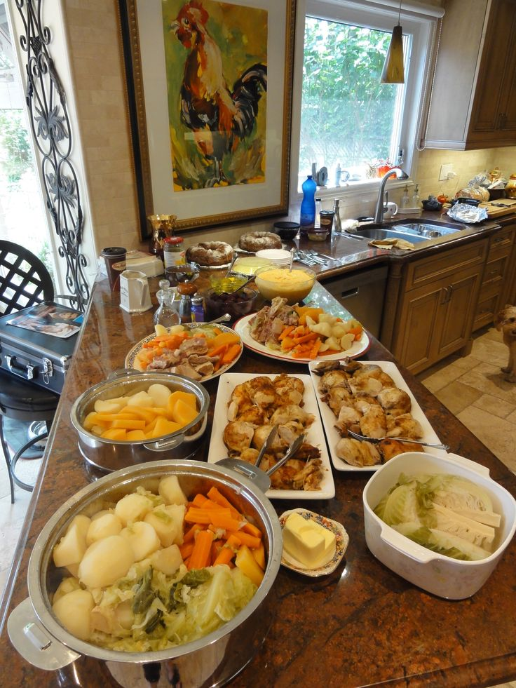 "A great feast we had, ""Newfoundland Jiggs Dinner"" of salt beef, cabbage, potato, carrot, turnip, gravy, roast chicken, pease pudding and completed with wild blueberry bunt cake and cream! Top it off with a cup of tea and a ""yarn""...(story)"
