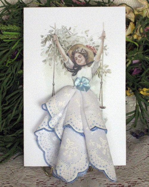 Harrison Fisher Girl on a Swing Keepsake Hanky by onceuponahanky, $10.00 - /ayumimatsuoka/vintage-aprons-hankies/  BACK